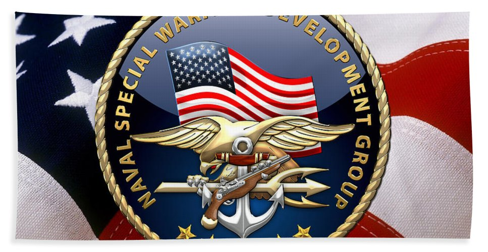 'military Insignia & Heraldry - Nswc' Collection By Serge Averbukh Bath Sheet featuring the digital art Naval Special Warfare Development Group - D E V G R U - Emblem Over U. S. Flag by Serge Averbukh