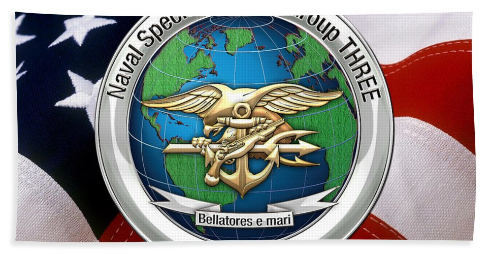 'military Insignia & Heraldry - Nswc' Collection By Serge Averbukh Bath Sheet featuring the digital art Naval Special Warfare Group Three - N S W G-3 - Over U. S. Flag by Serge Averbukh
