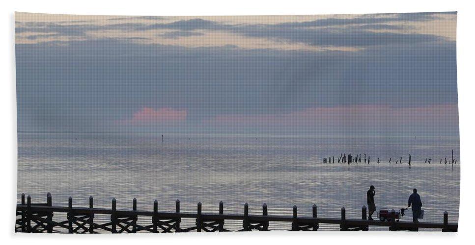 Navarre Beach Pier Bath Sheet featuring the photograph Navarre Beach Sunset 9 by Michelle Powell