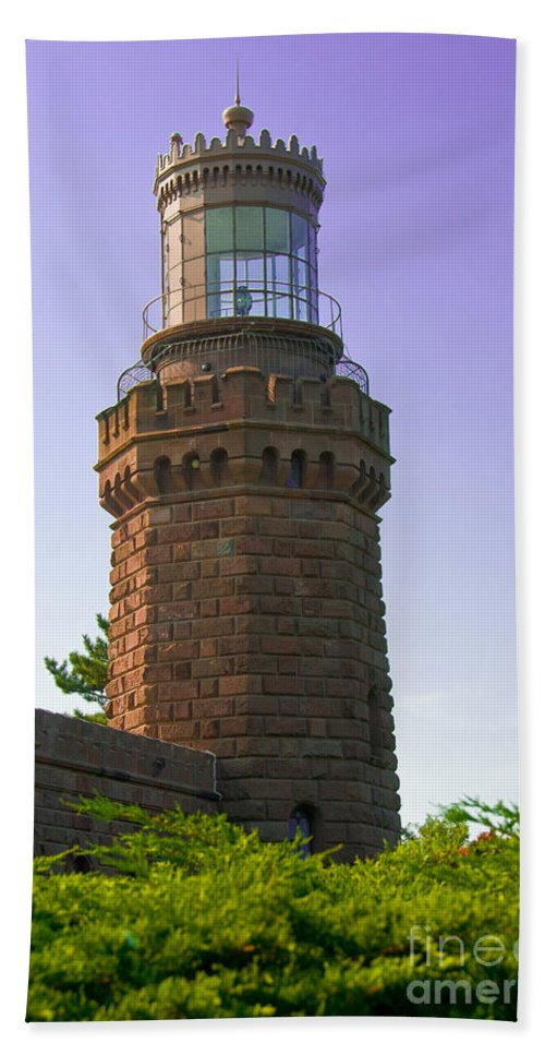 Lighthouses Hand Towel featuring the photograph Navesink Twin Lights Lighthouse by Anthony Sacco