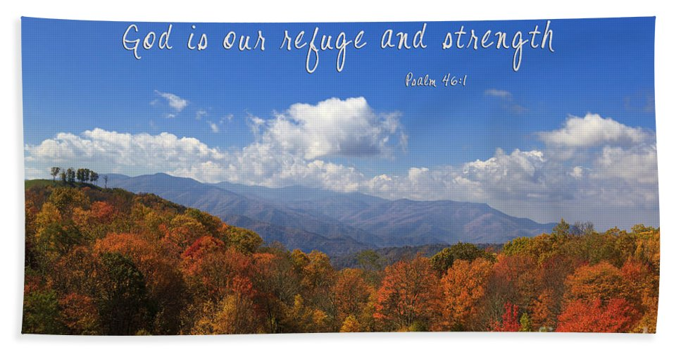 Max Hand Towel featuring the photograph Nc Mountains With Scripture by Jill Lang
