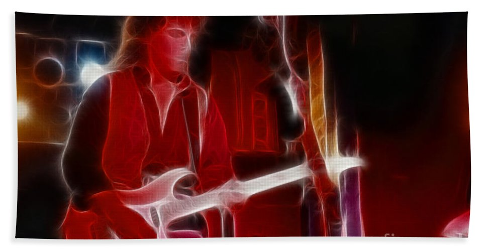 Neal Schon Bath Sheet featuring the photograph Neal Schon-gb21a-fractal by Gary Gingrich Galleries
