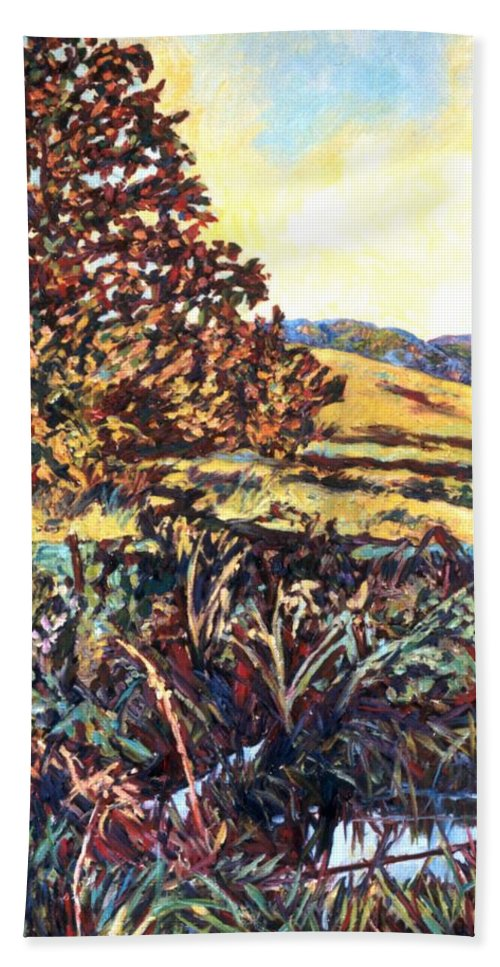 Landscape Bath Towel featuring the painting Near Childress by Kendall Kessler