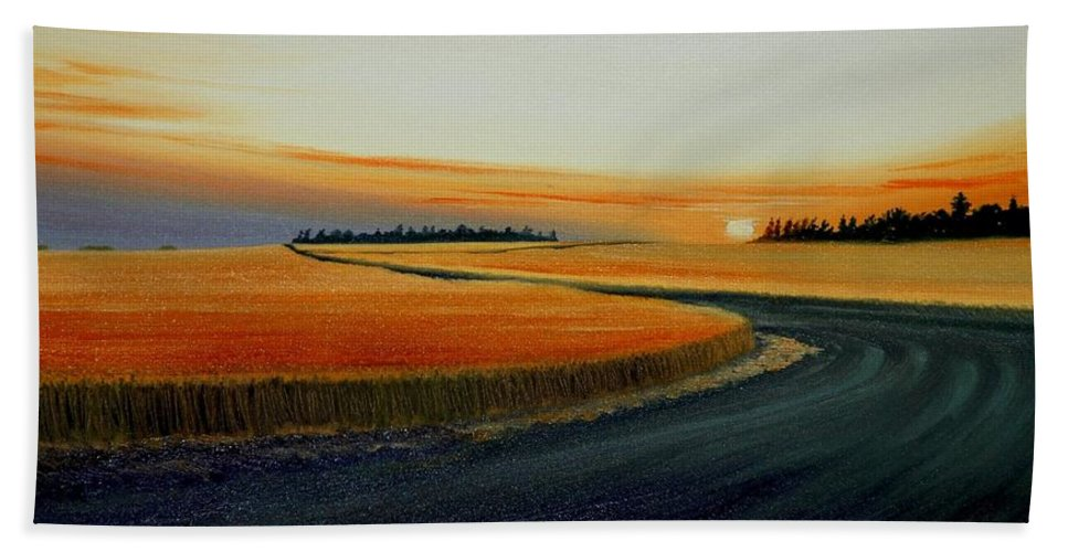 Wheat Hand Towel featuring the painting Near Moscow by Leonard Heid