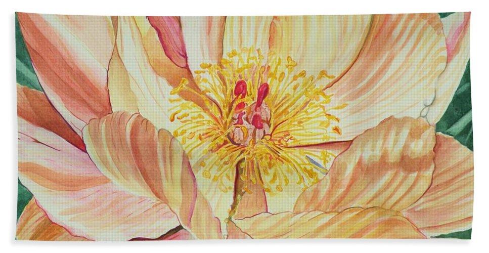 Spring Flower Bath Sheet featuring the painting Nebraska City Peony II by Christine Belt