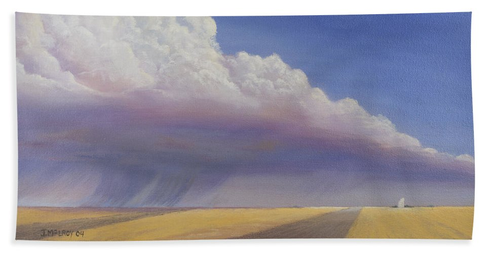 Landscape Bath Sheet featuring the painting Nebraska Vista by Jerry McElroy
