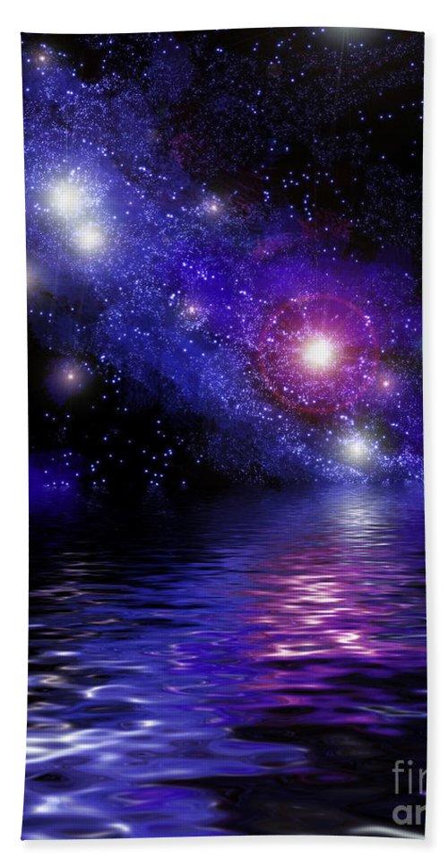 Nebula Bath Sheet featuring the digital art Nebula Reflection by Antony McAulay