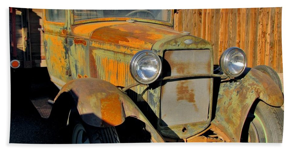Vintage Ford Truck Hand Towel featuring the photograph Needs Tlc by Marilyn Smith
