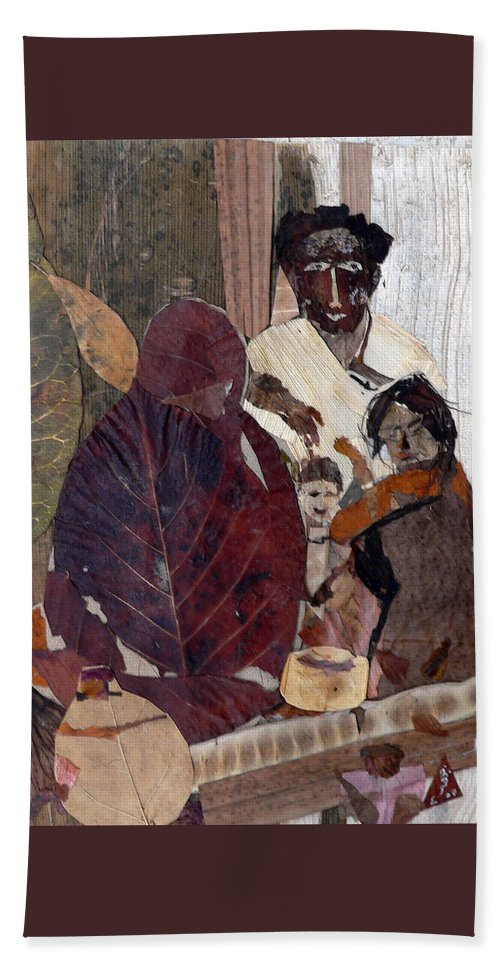 Group Portrait Hand Towel featuring the mixed media Needy Family by Basant Soni
