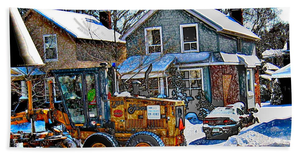 Snow Plow Hand Towel featuring the photograph Neighbourhood Snowplough 2 by Nina Silver