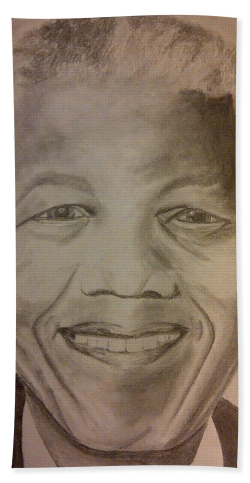President Of South Africa Hand Towel featuring the painting Nelson Mandela by Irving Starr