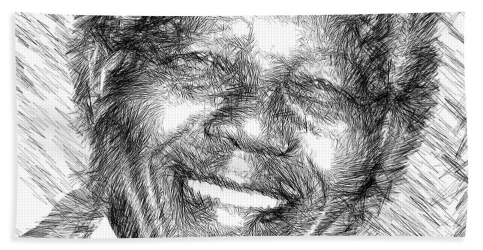 Nelson Mandela Bath Towel featuring the digital art Nelson Mandela by Rafael Salazar