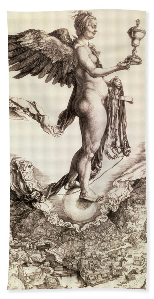 Fate Hand Towel featuring the drawing Nemesis by Albrecht Durer