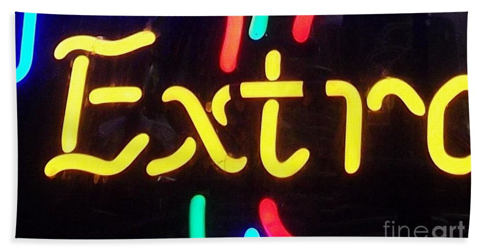 Neon Bath Sheet featuring the photograph Neon Beer Sign - Extra by Miriam Danar