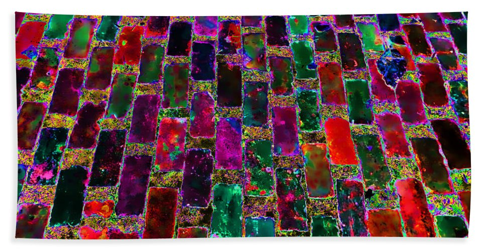 Bricks Hand Towel featuring the photograph Neon Brick by Cathy Anderson