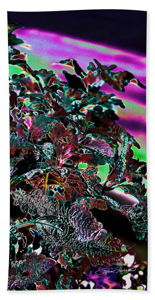 Abstract Art Bath Sheet featuring the photograph Neon Coleus by Sylvia Thornton