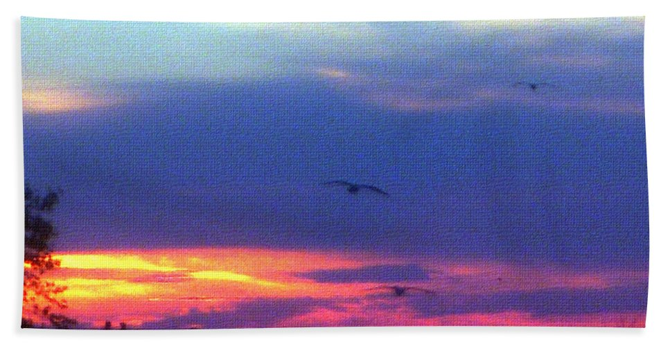 Sunset Hand Towel featuring the photograph Neon Sunset by Aimee L Maher ALM GALLERY