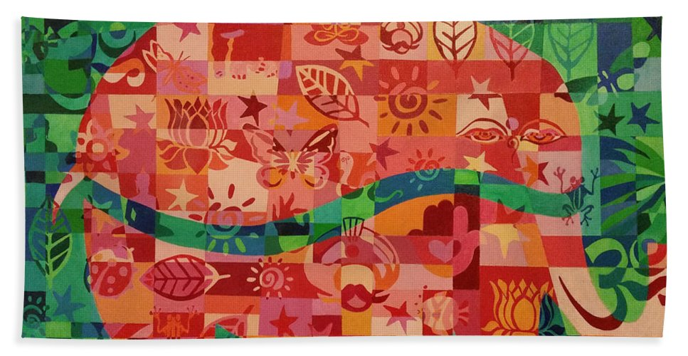 Elephant Hand Towel featuring the painting Nepalese Elephant by Debra Crary