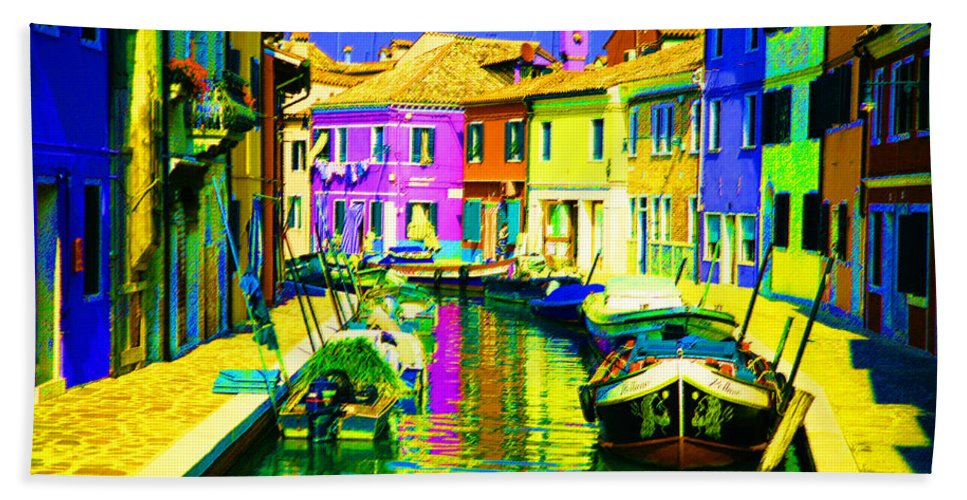 Burano Bath Sheet featuring the digital art Neptune's Canal by Donna Corless