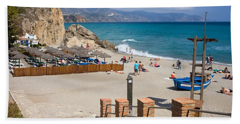 Nerja Hand Towel featuring the photograph Nerja Beach In Spain by Artur Bogacki