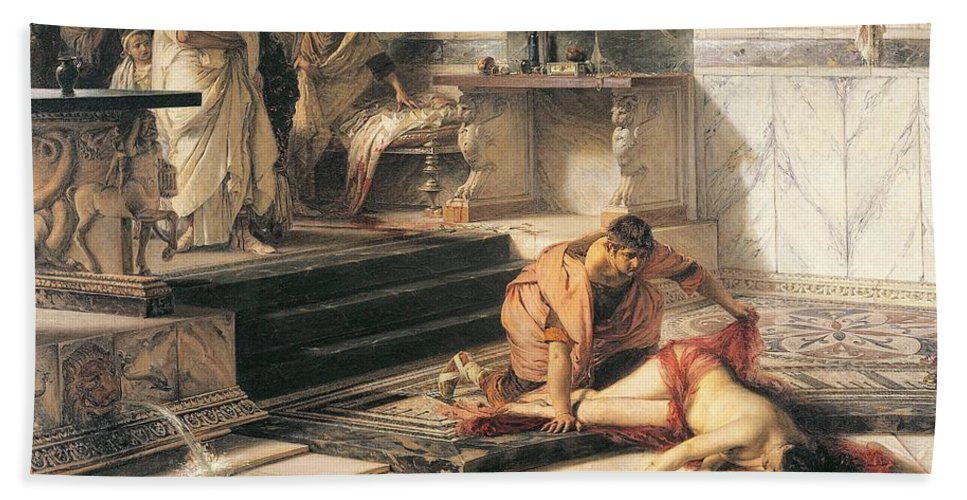 Painting; 19th Century Painting; History; Iconography Bath Sheet featuring the painting Nero And Agrippina by Antonio Rizzi