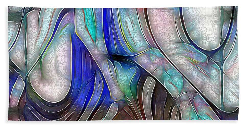 Abstract Bath Sheet featuring the painting Nerve Center by RC DeWinter