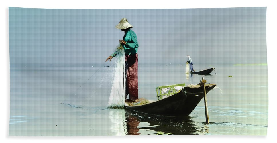 Myanmar Hand Towel featuring the photograph Net Fishing On Inle Lake by Claude LeTien