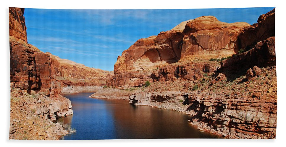 Lake Powell Hand Towel featuring the photograph Never Ending Waterways by Robert VanDerWal