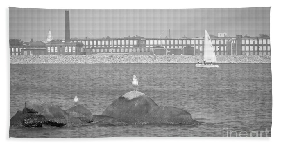 Hazelwood Bath Sheet featuring the photograph New Bedford Massachusetts Black White by Andrea Anderegg