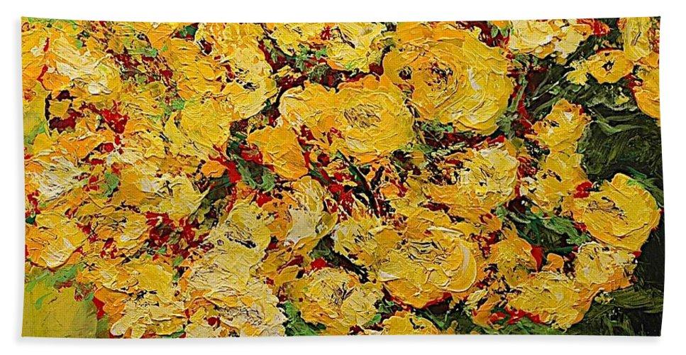 Landscape Bath Sheet featuring the painting New Beginnings by Allan P Friedlander