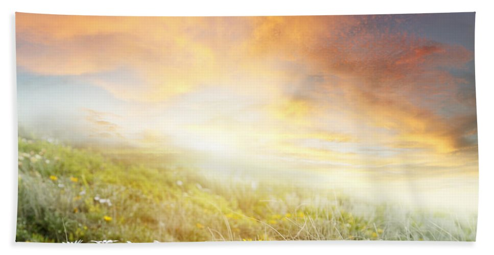 Beauty Bath Sheet featuring the photograph New Day Dawn by Les Cunliffe