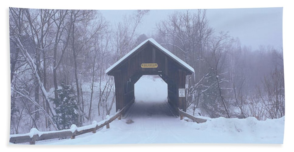 Photography Hand Towel featuring the photograph New England Covered Bridge In Winter by Panoramic Images