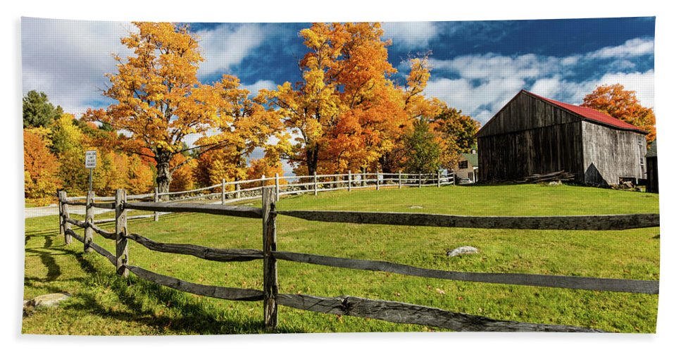 Photography Bath Sheet featuring the photograph New England Farm With Autumn Sugar by Panoramic Images