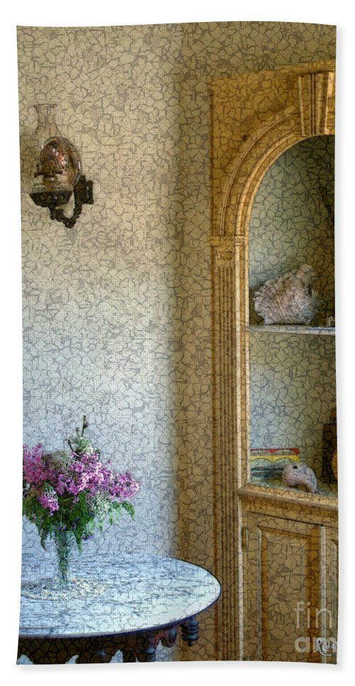 Antiques Bath Towel featuring the painting New England Florentine by RC deWinter