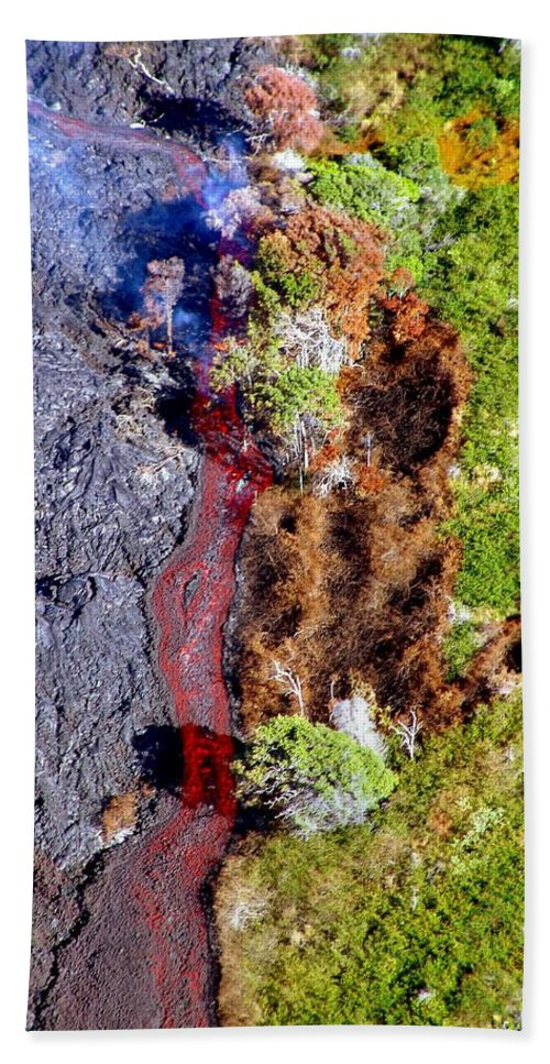 Lava Hand Towel featuring the photograph New Flow by Eric Swan