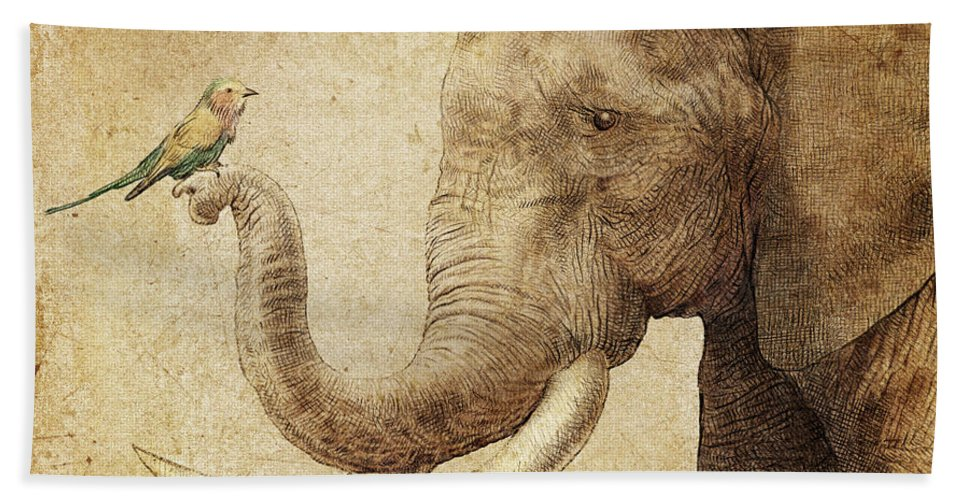 Elephant Bath Towel featuring the drawing New Friend by Eric Fan