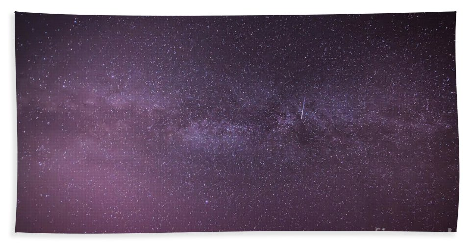 Landscape Bath Sheet featuring the photograph New Jersey Milky Way by Michael Ver Sprill