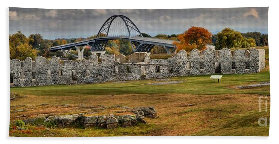Fort Saint-frédéric Bath Sheet featuring the photograph New Lake Champlain Bridge Over Fort Crown Point Panorama by Adam Jewell