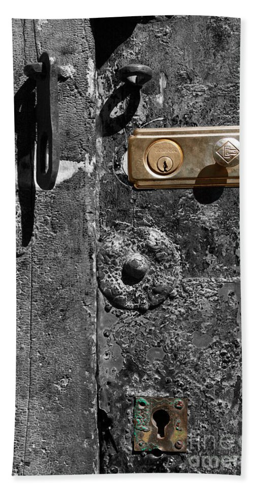 Door Bath Sheet featuring the photograph New Lock On Old Door 1 by James Brunker