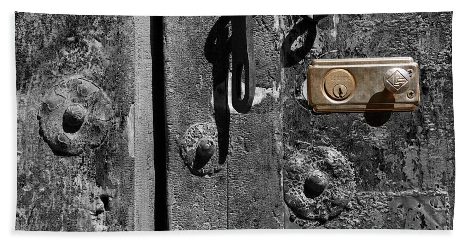Still Life Bath Sheet featuring the photograph New Lock On Old Door 2 by James Brunker