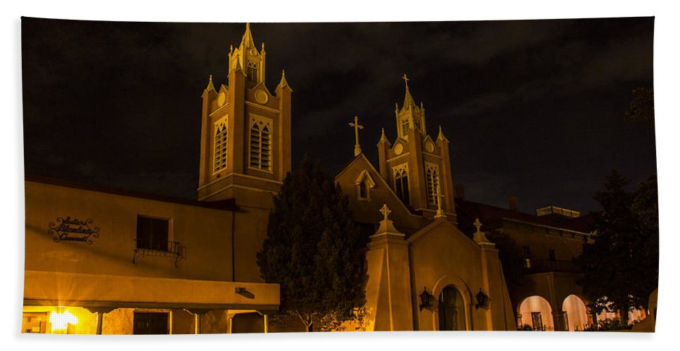 Route 66 Hand Towel featuring the photograph New Mexico Church Night by Angus Hooper Iii
