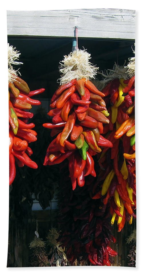 New Mexico Hand Towel featuring the photograph New Mexico Red Chili Peppers by Kurt Van Wagner