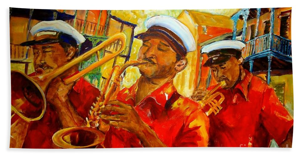 New Orleans Bath Sheet featuring the painting New Orleans Brass Band by Diane Millsap