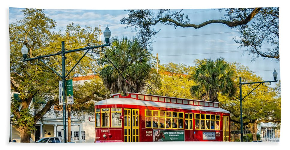 Canal Street Hand Towel featuring the photograph New Orleans - Canal St Streetcar 2 by Steve Harrington