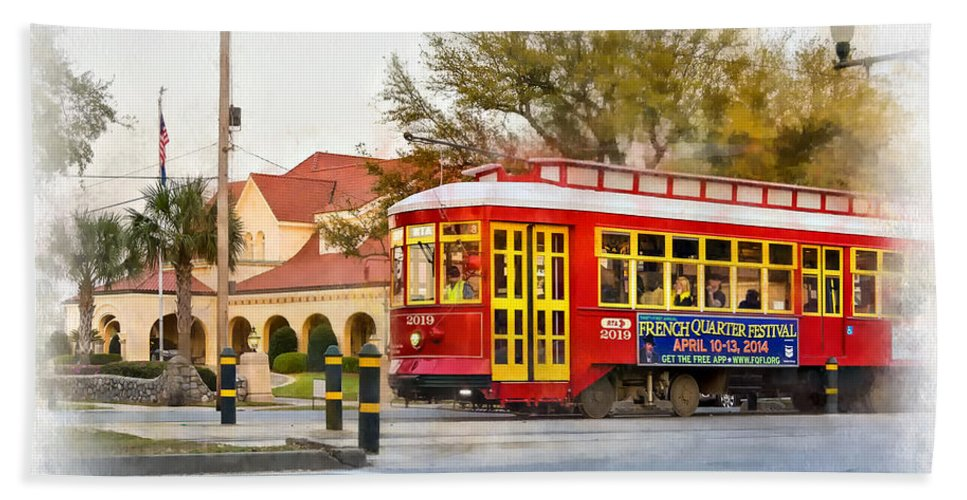 Canal Street Hand Towel featuring the photograph New Orleans Streetcar Paint by Steve Harrington