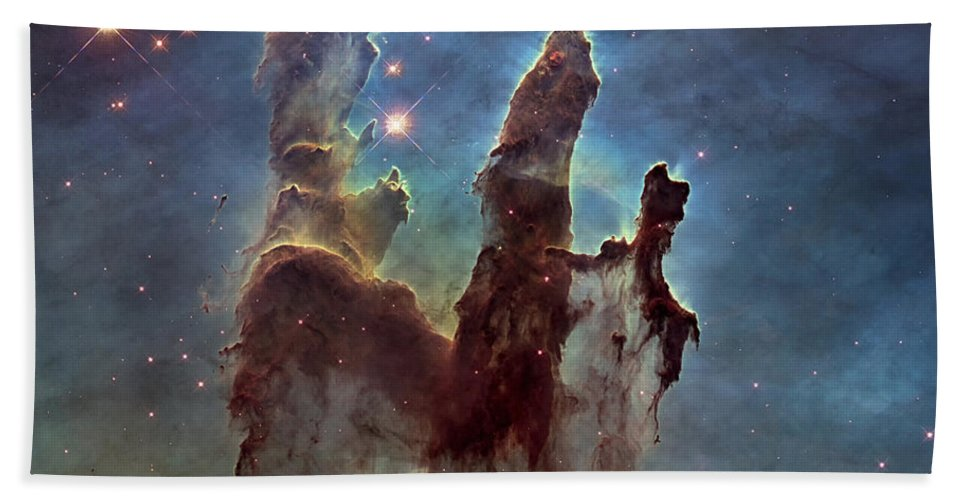 3scape Bath Towel featuring the photograph New Pillars of Creation HD Square by Adam Romanowicz
