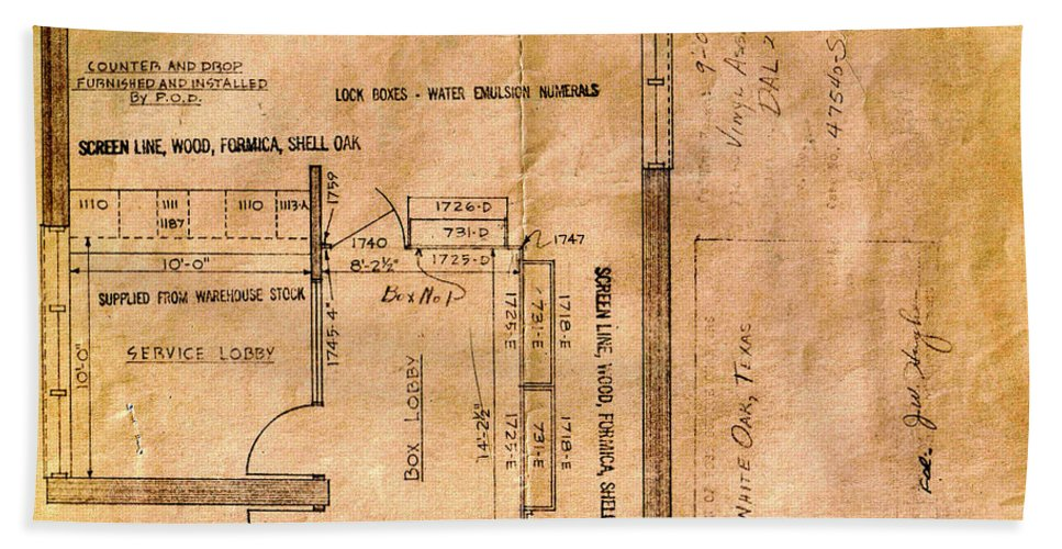 Post Hand Towel featuring the photograph New Post Office Plans 1961 by Darrell Clakley