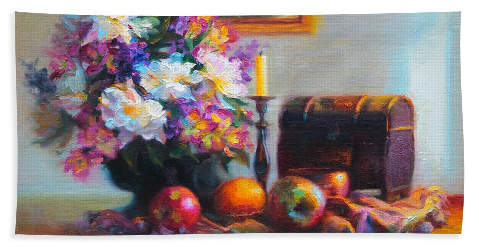 Colorful Bath Sheet featuring the painting New Reflections by Talya Johnson