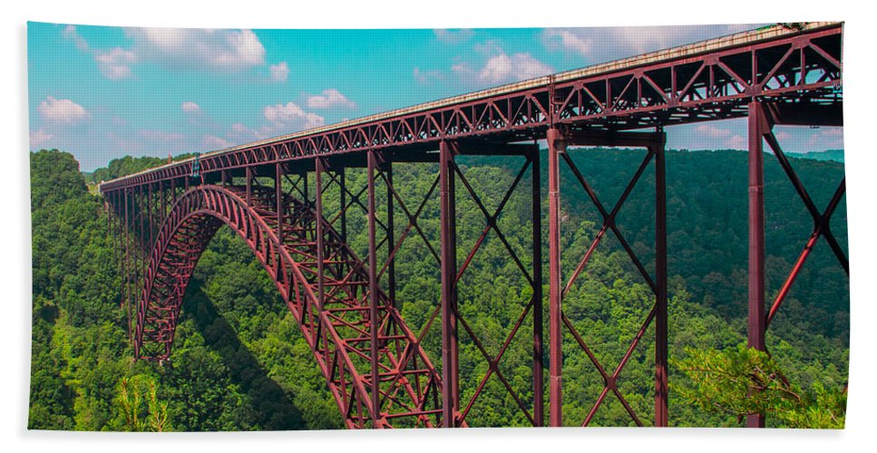 Gorge Bath Sheet featuring the photograph New River Gorge by Michael J Samuels