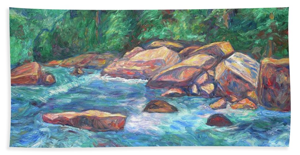 Kendall Kessler Bath Sheet featuring the painting New River Fast Water by Kendall Kessler